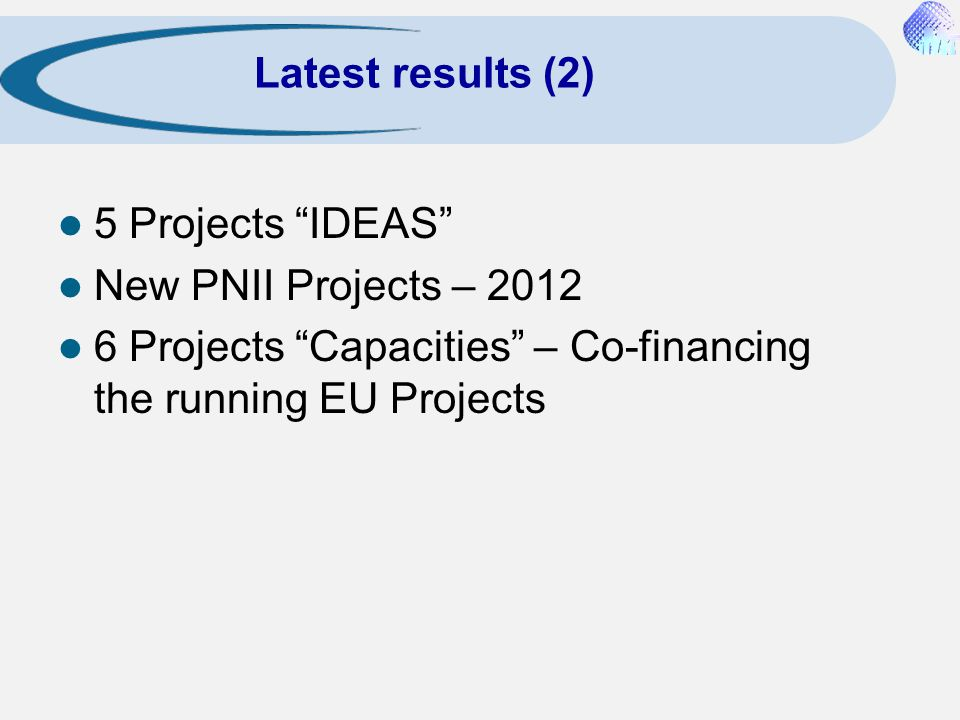 Latest results (2) 5 Projects IDEAS New PNII Projects – 2012.