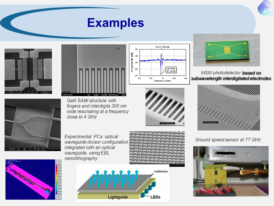 Examples MSM photodetector based on subwavelength interdigitated electrodes.