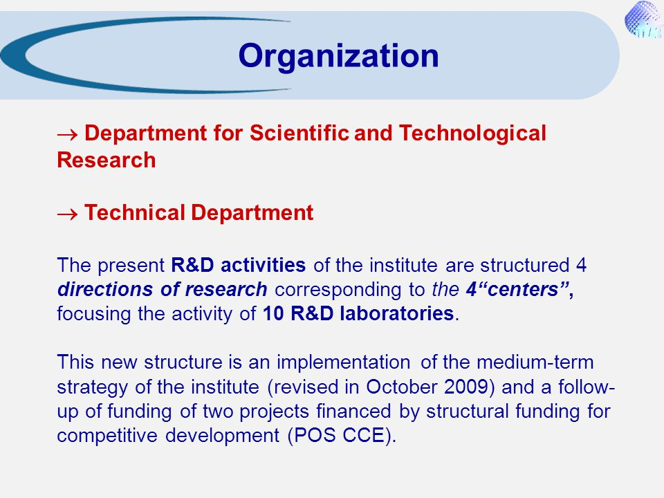 Organization  Department for Scientific and Technological Research