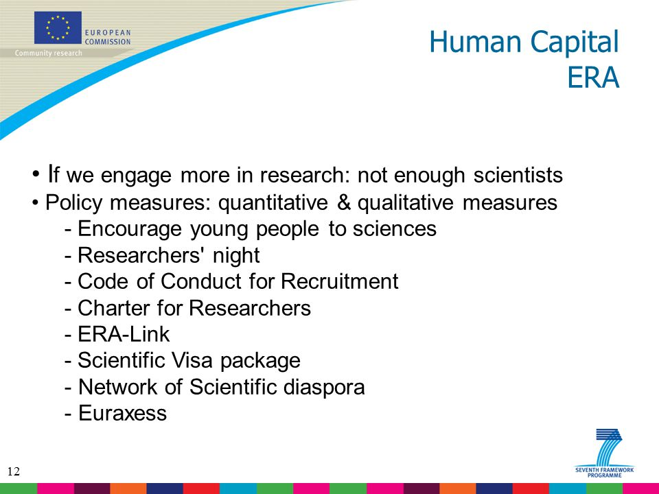 Human Capital ERA If we engage more in research: not enough scientists