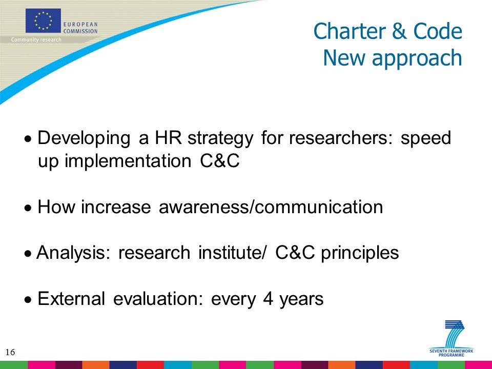 Charter & Code New approach