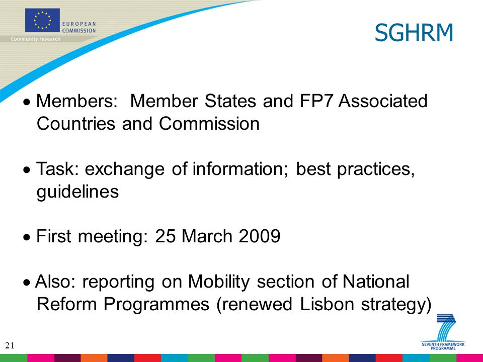 SGHRM Members: Member States and FP7 Associated Countries and Commission. Task: exchange of information; best practices, guidelines.