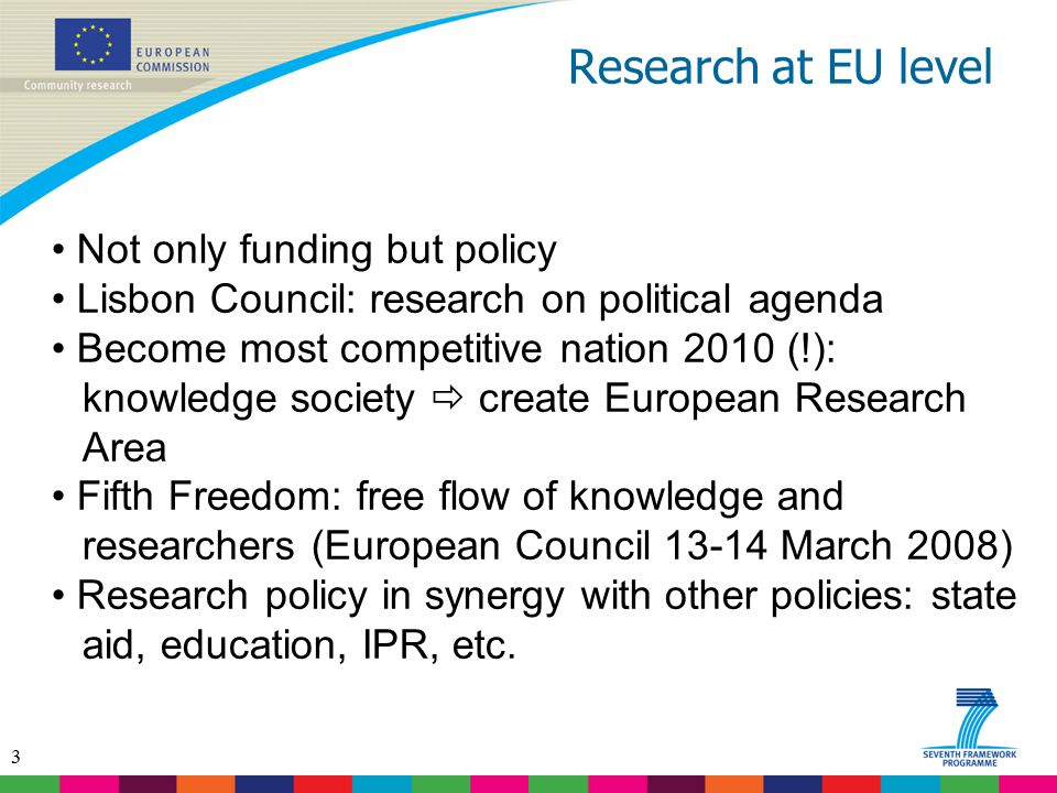 Research at EU level Not only funding but policy