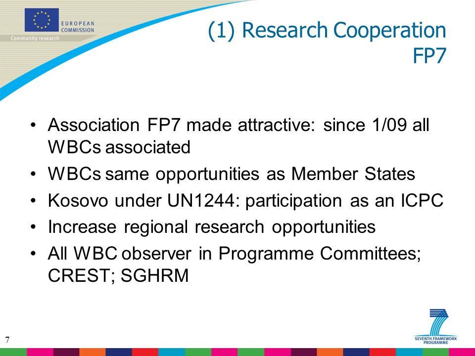 (1) Research Cooperation FP7