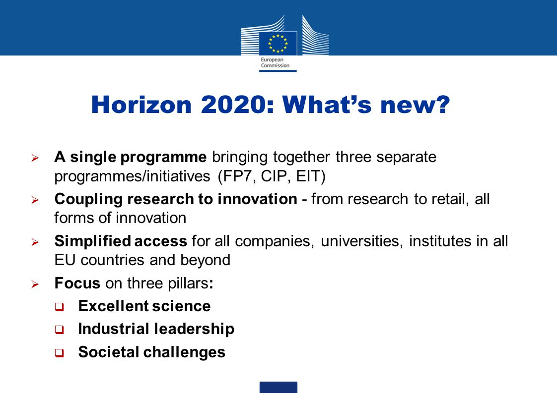Horizon 2020: What's new A single programme bringing together three separate programmes/initiatives (FP7, CIP, EIT)