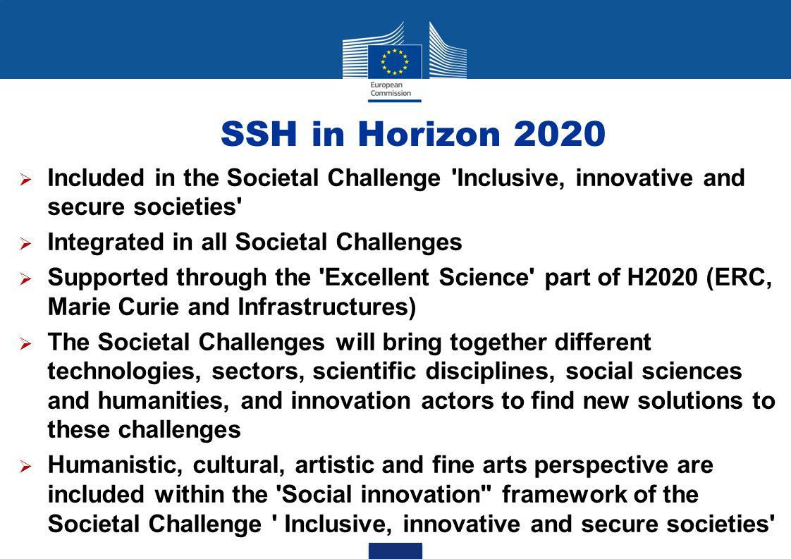 SSH in Horizon 2020 Included in the Societal Challenge Inclusive, innovative and secure societies