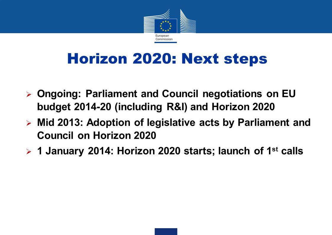 Horizon 2020: Next steps Ongoing: Parliament and Council negotiations on EU budget 2014-20 (including R&I) and Horizon 2020.