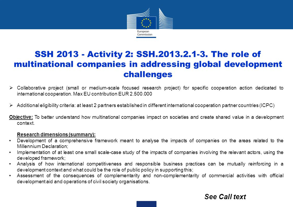 SSH 2013 - Activity 2: SSH.2013.2.1-3. The role of multinational companies in addressing global development challenges
