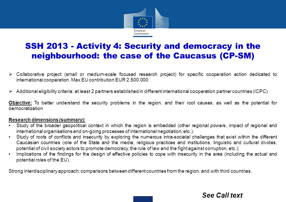 SSH 2013 - Activity 4: Security and democracy in the neighbourhood: the case of the Caucasus (CP-SM)
