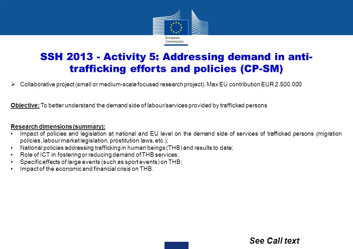 SSH 2013 - Activity 5: Addressing demand in anti- trafficking efforts and policies (CP-SM)