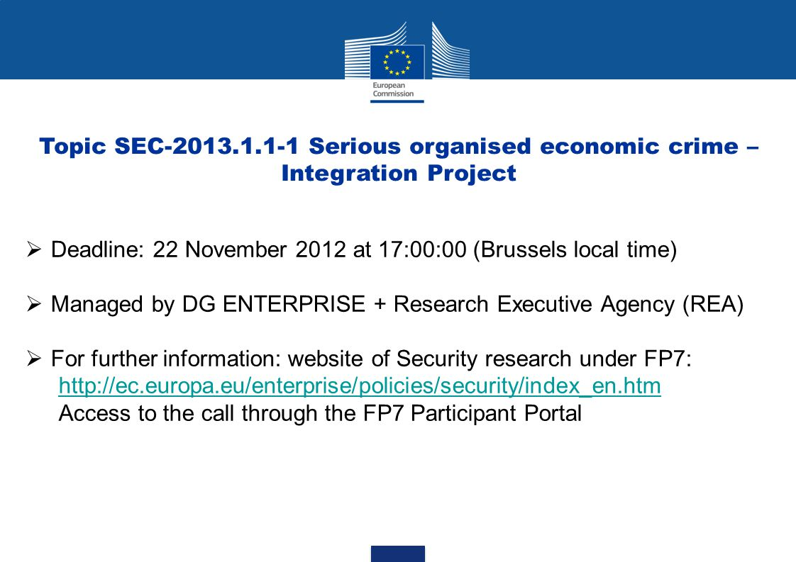 Topic SEC-2013.1.1-1 Serious organised economic crime – Integration Project