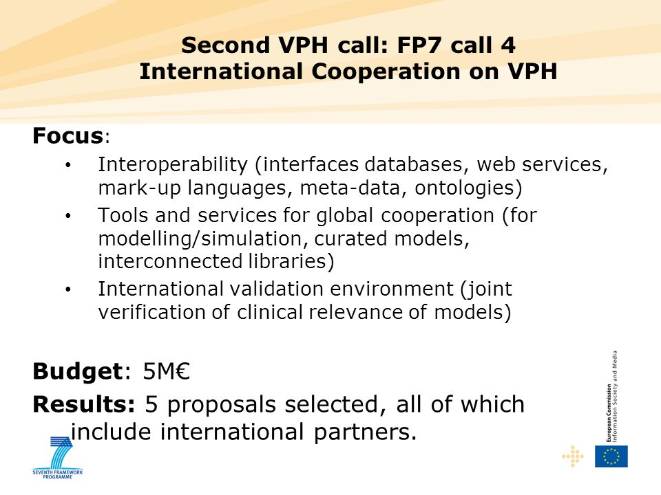Second VPH call: FP7 call 4 International Cooperation on VPH
