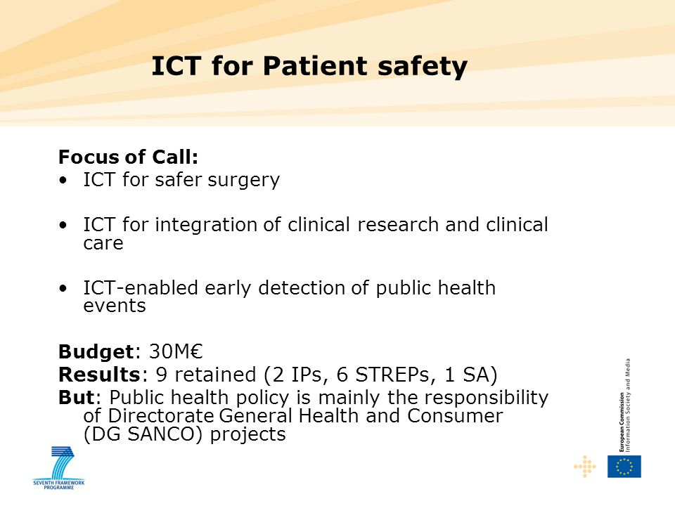 ICT for Patient safety Results: 9 retained (2 IPs, 6 STREPs, 1 SA)