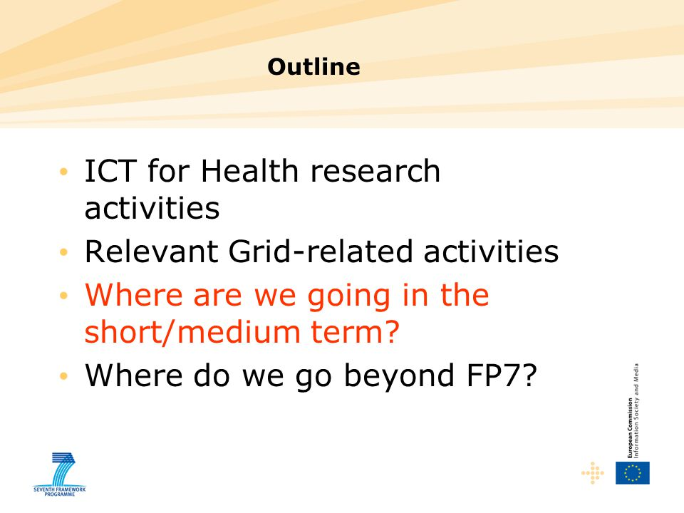 ICT for Health research activities Relevant Grid-related activities