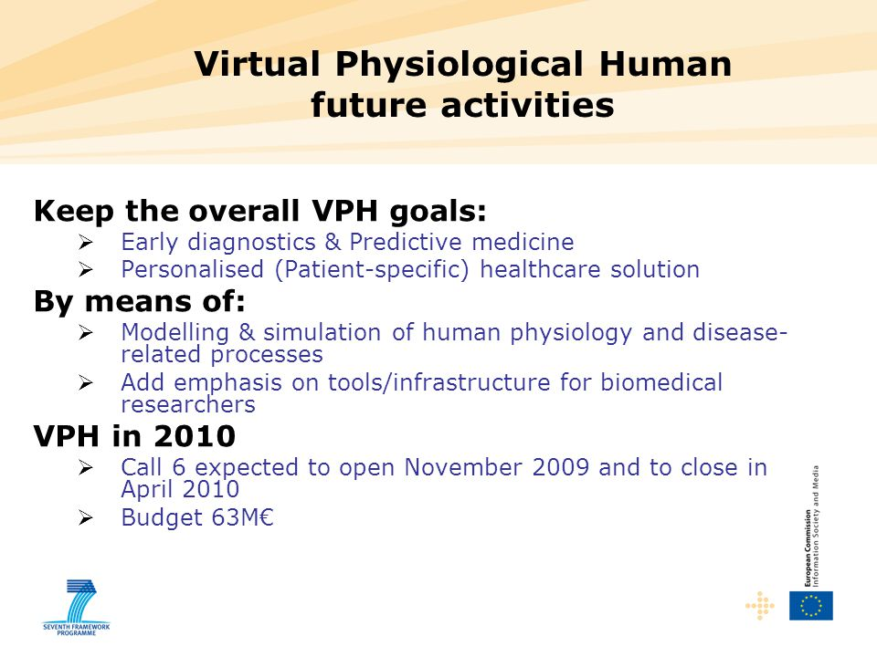 Virtual Physiological Human future activities