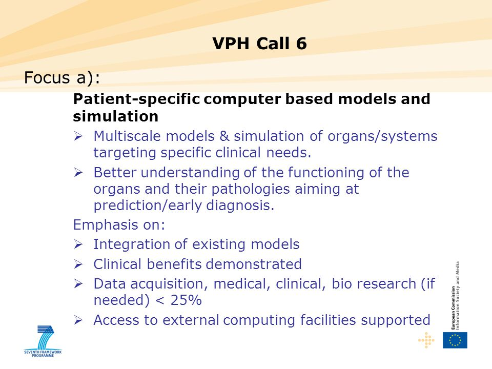 VPH Call 6 Focus a): Patient-specific computer based models and simulation.