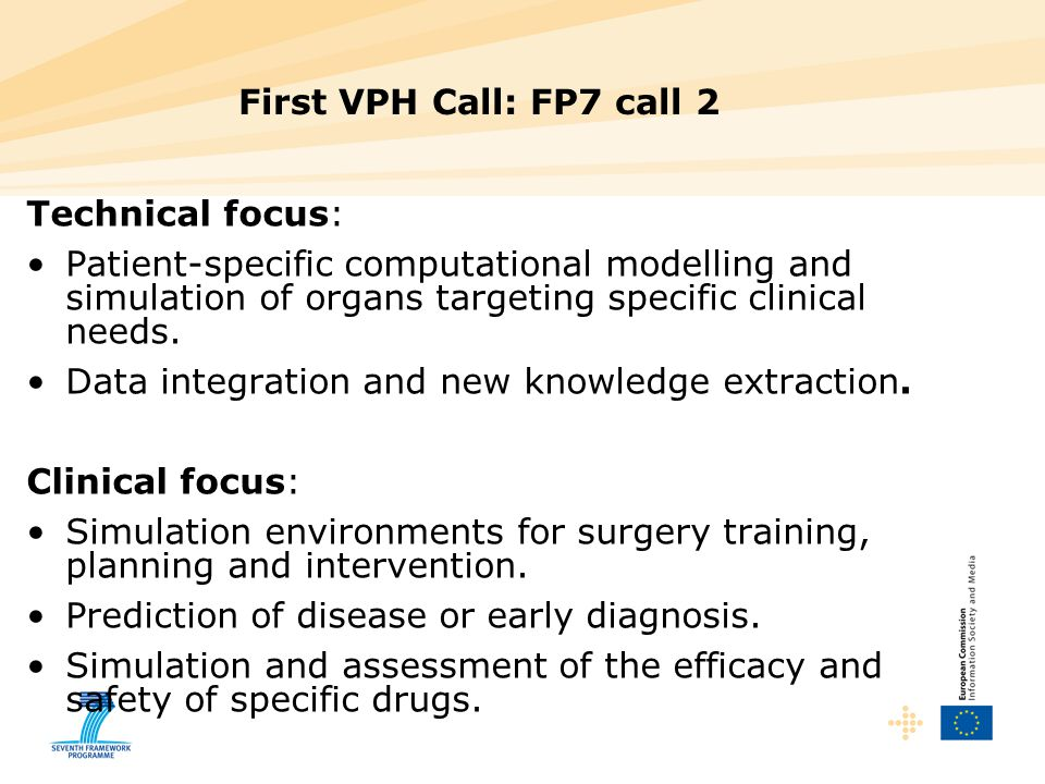 First VPH Call: FP7 call 2 Technical focus: Patient-specific computational modelling and simulation of organs targeting specific clinical needs.