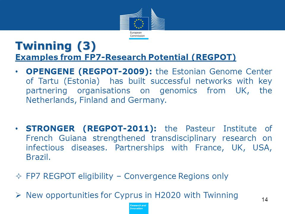 Twinning (3) Examples from FP7-Research Potential (REGPOT)