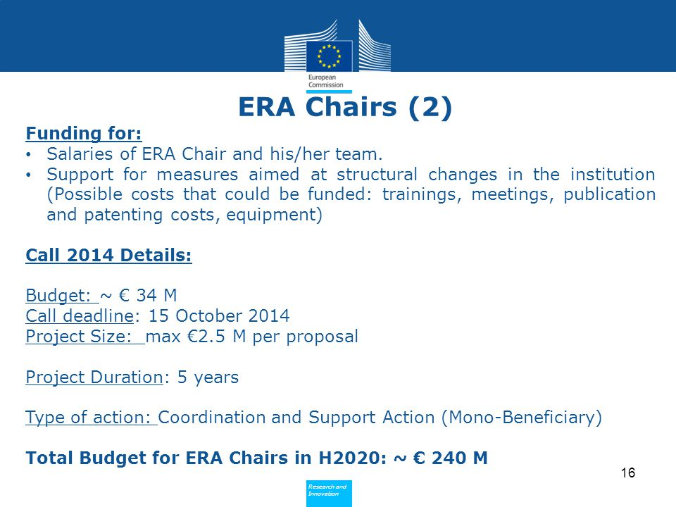 ERA Chairs (2) Funding for: Salaries of ERA Chair and his/her team.