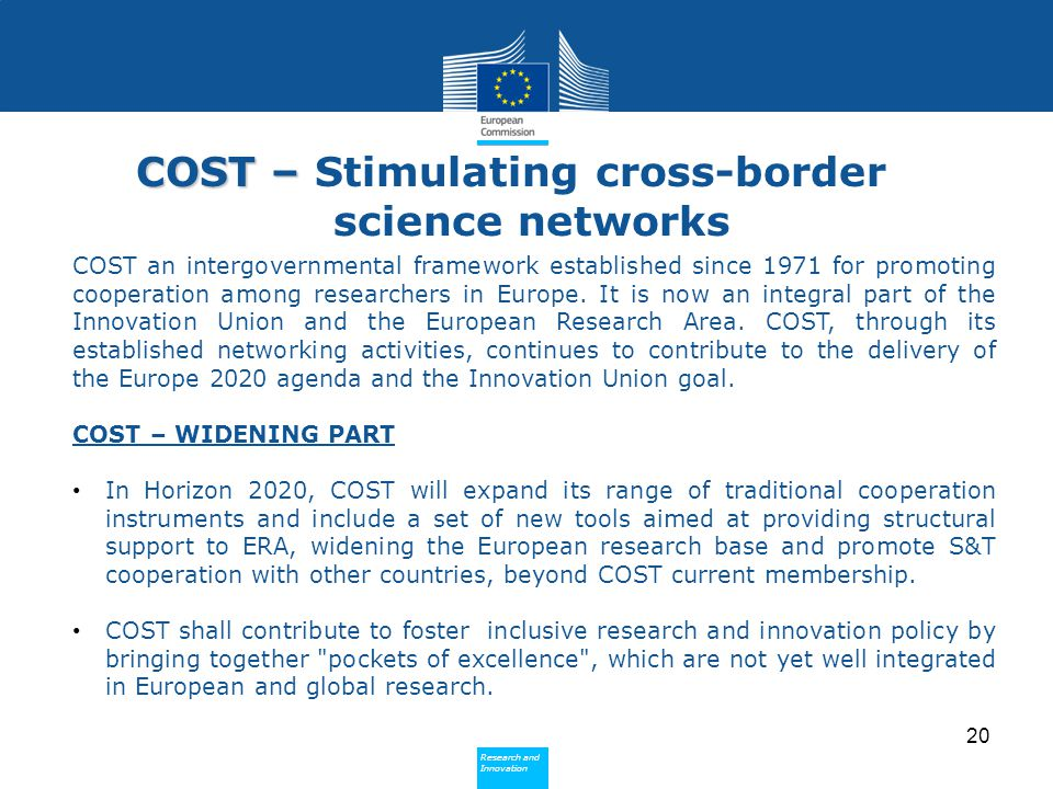 COST – Stimulating cross-border science networks