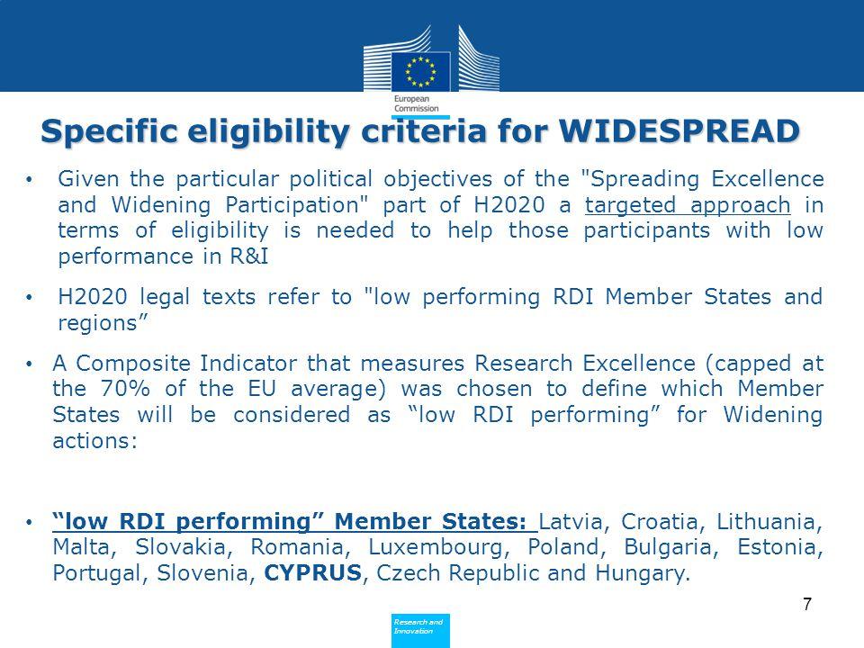Specific eligibility criteria for WIDESPREAD