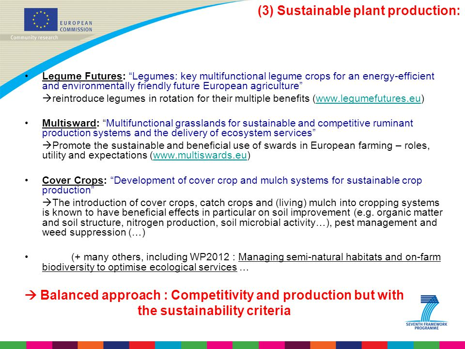 (3) Sustainable plant production: