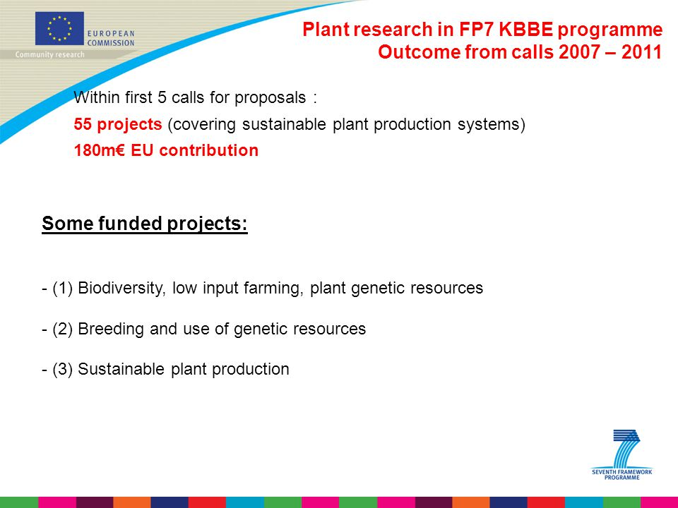 Plant research in FP7 KBBE programme Outcome from calls 2007 – 2011