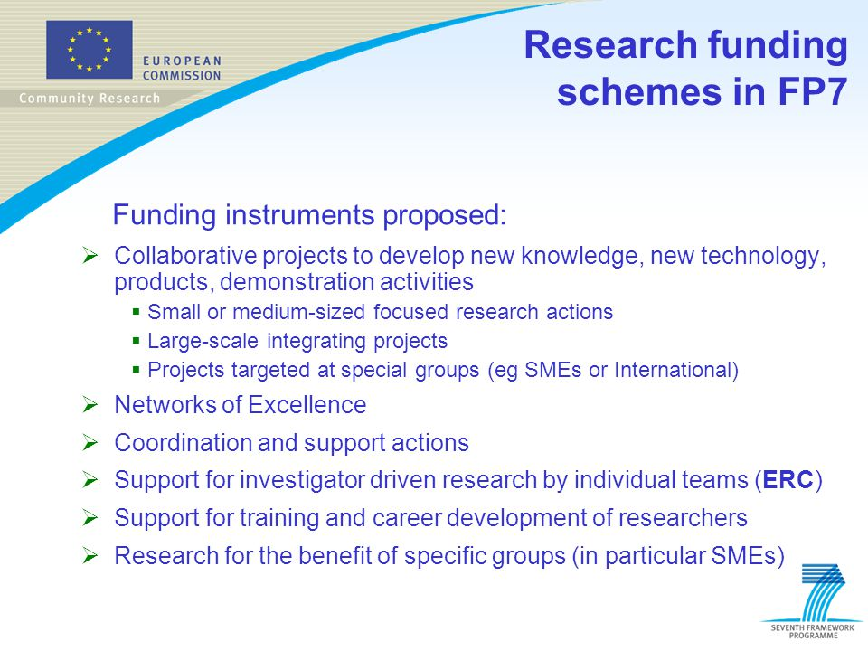 Research funding schemes in FP7