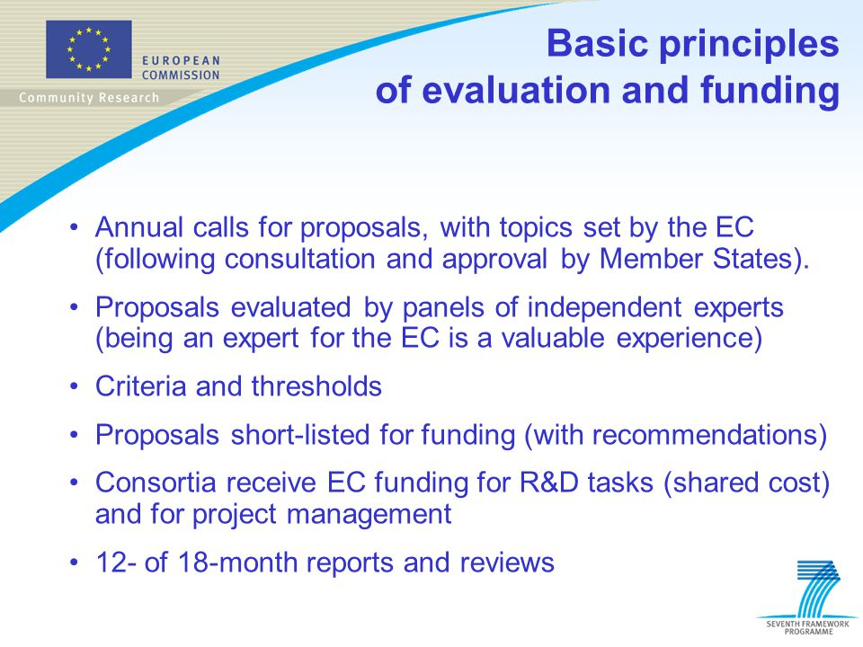 Basic principles of evaluation and funding