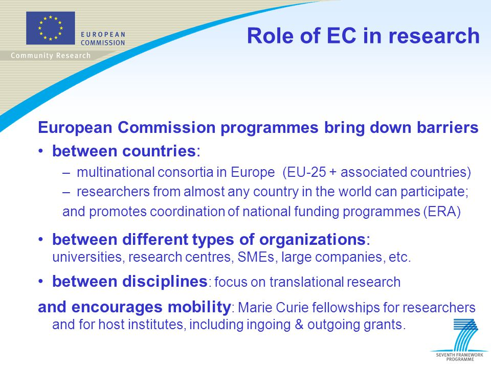 Role of EC in research European Commission programmes bring down barriers. between countries: