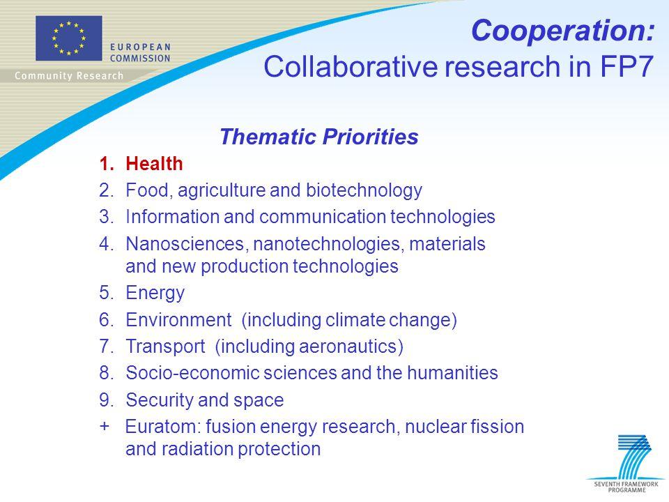 Cooperation: Collaborative research in FP7