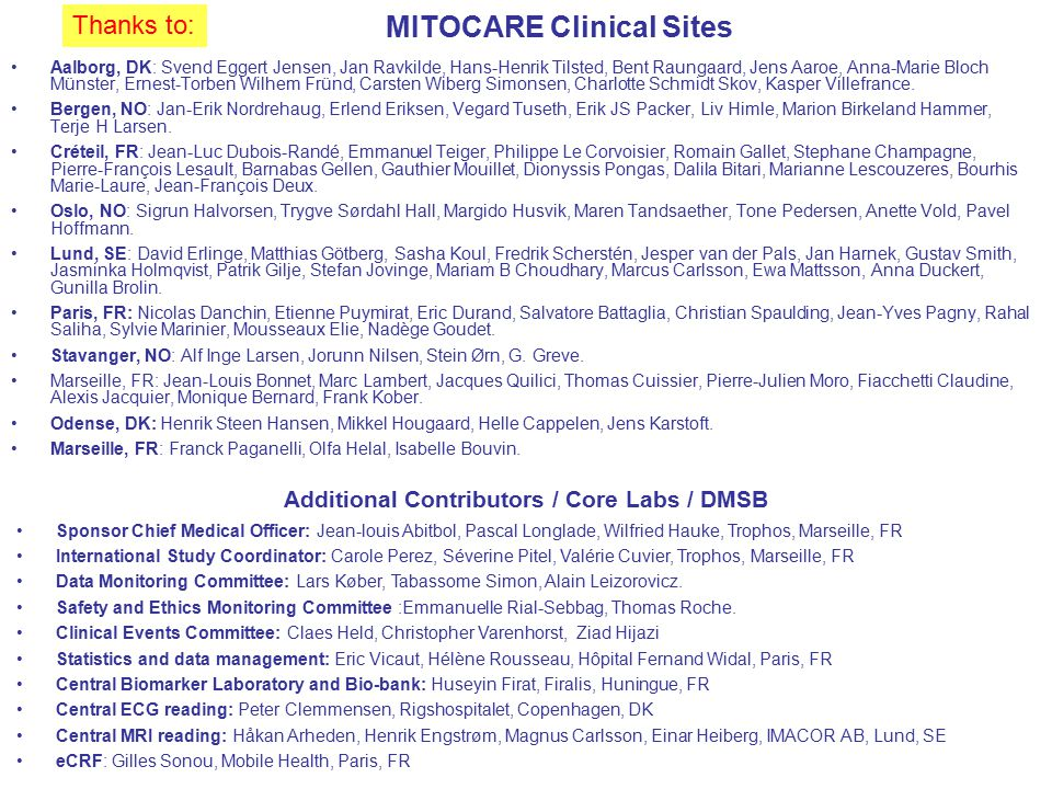 MITOCARE Clinical Sites