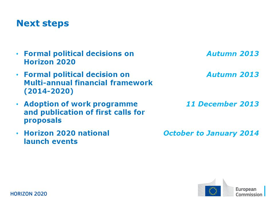 Next steps Formal political decisions on Horizon 2020