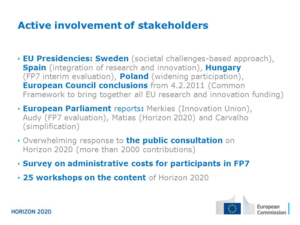 Active involvement of stakeholders