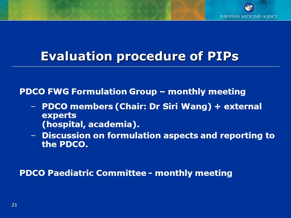Evaluation procedure of PIPs
