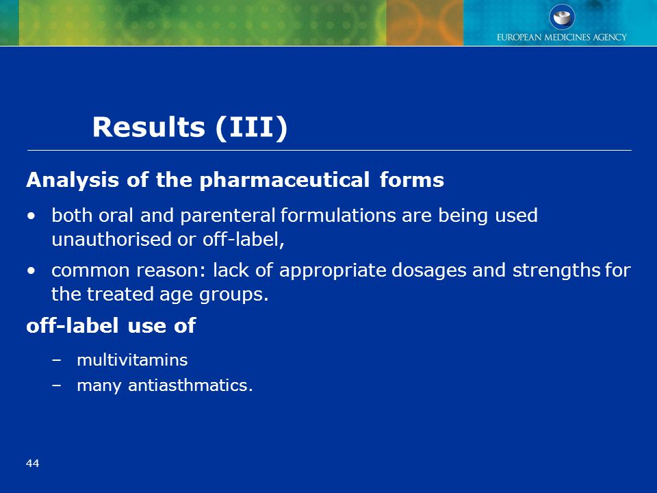 Results (III) Analysis of the pharmaceutical forms off-label use of