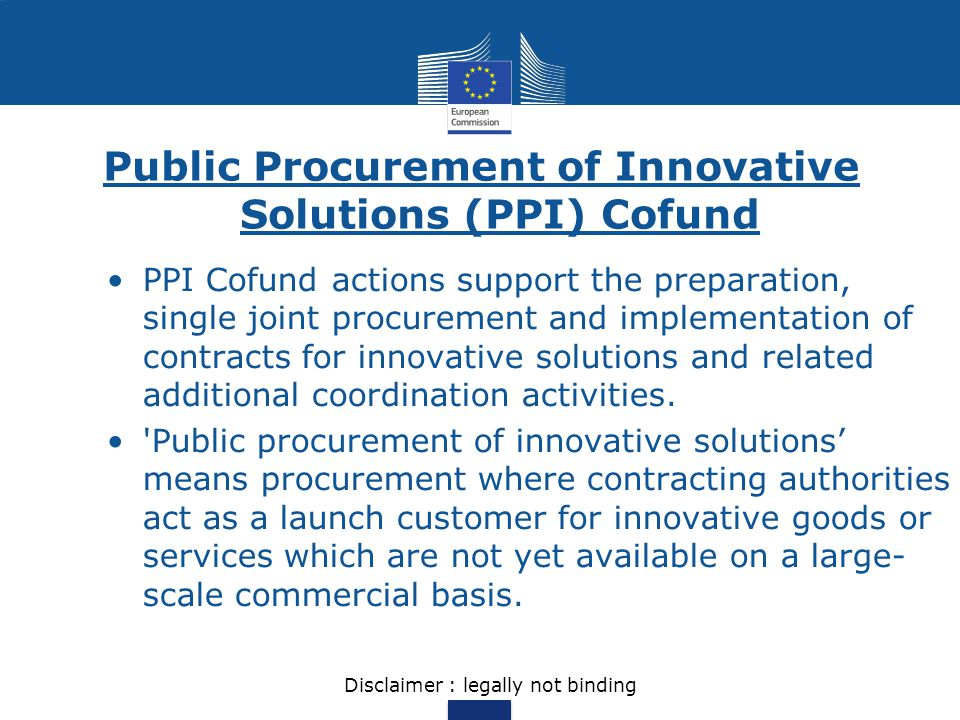 Public Procurement of Innovative Solutions (PPI) Cofund