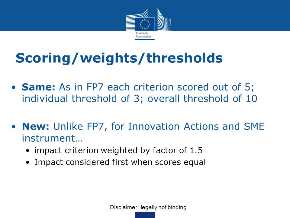 Scoring/weights/thresholds