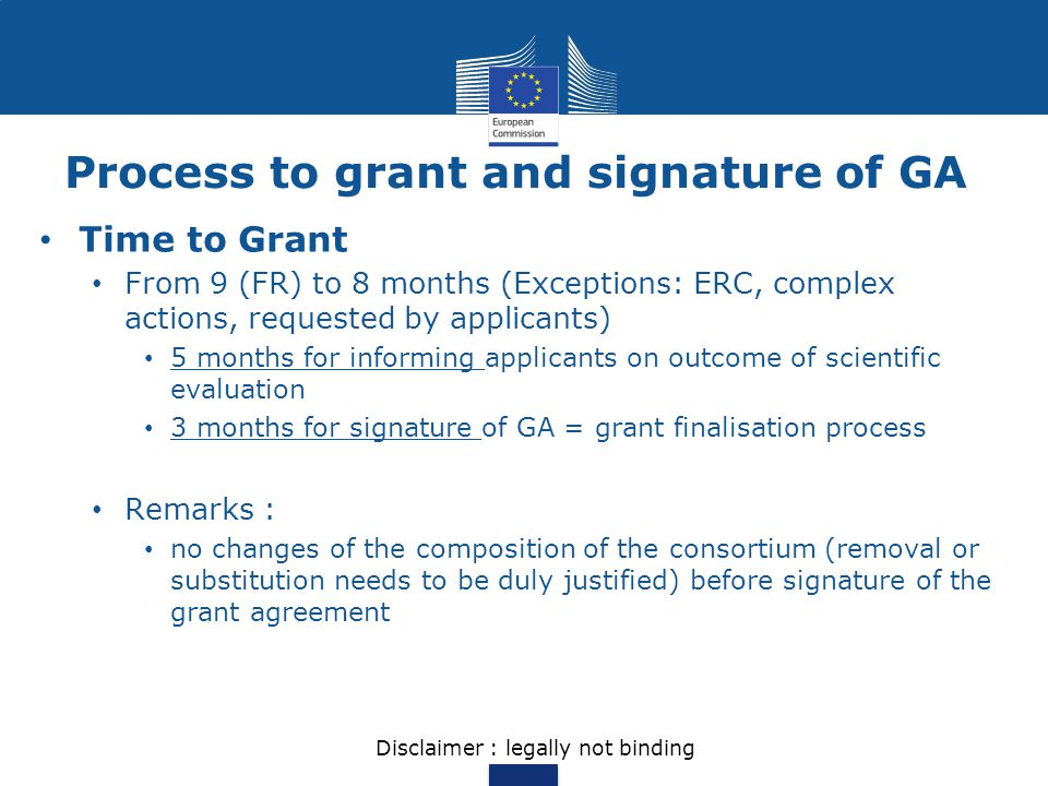 Process to grant and signature of GA