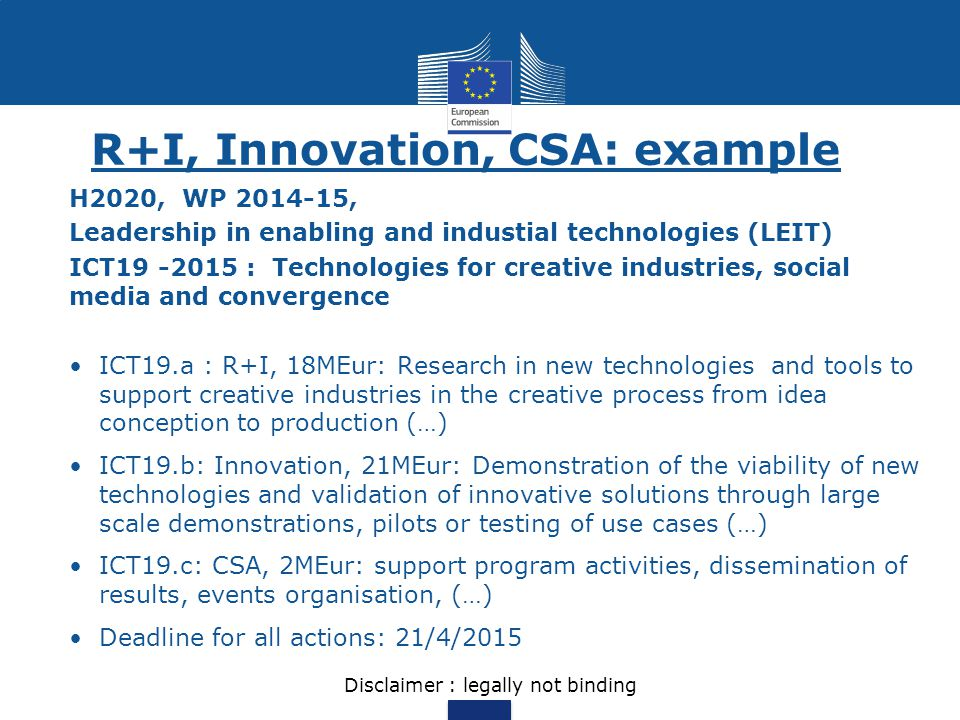 R+I, Innovation, CSA: example