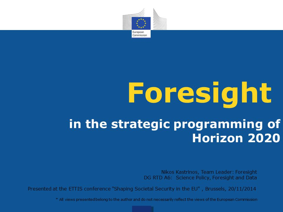 Foresight in the strategic programming of Horizon 2020