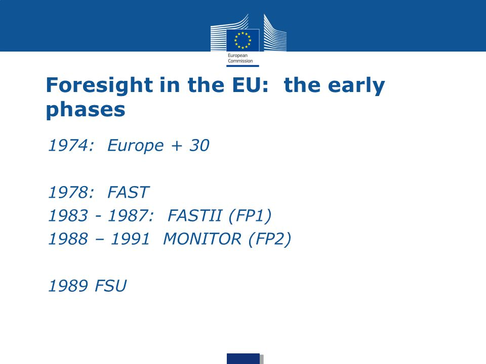 Foresight in the EU: the early phases