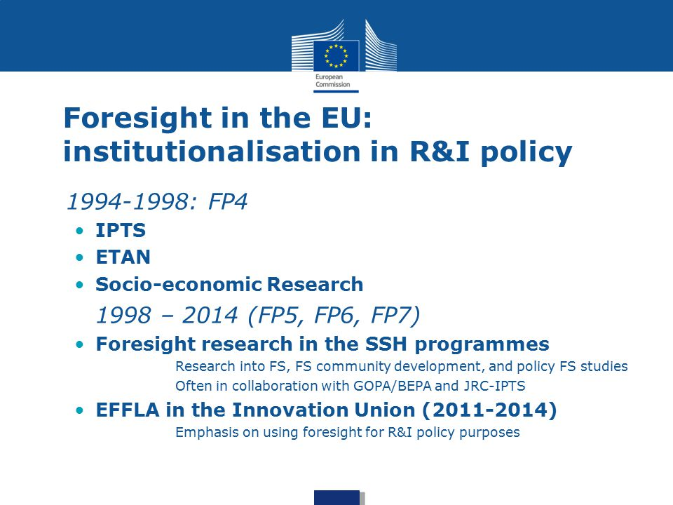 Foresight in the EU: institutionalisation in R&I policy
