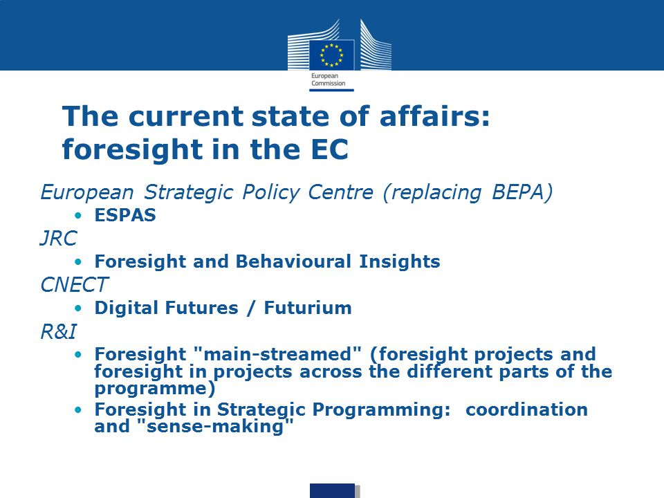 The current state of affairs: foresight in the EC
