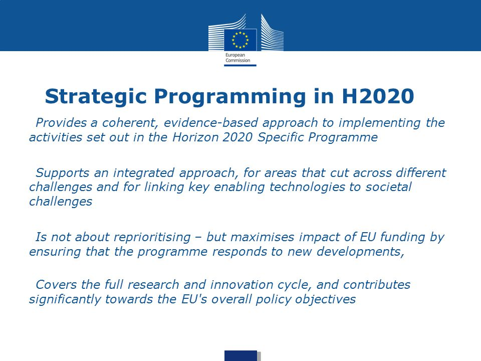 Strategic Programming in H2020