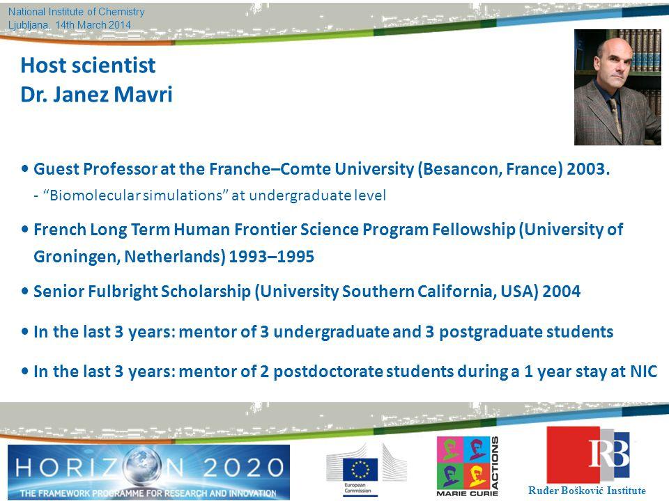 Host scientist Dr. Janez Mavri