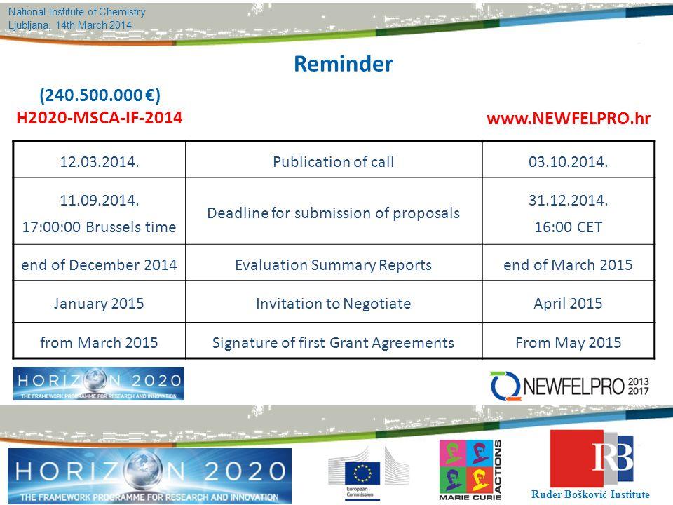 Reminder (240.500.000 €) H2020-MSCA-IF-2014 www.NEWFELPRO.hr