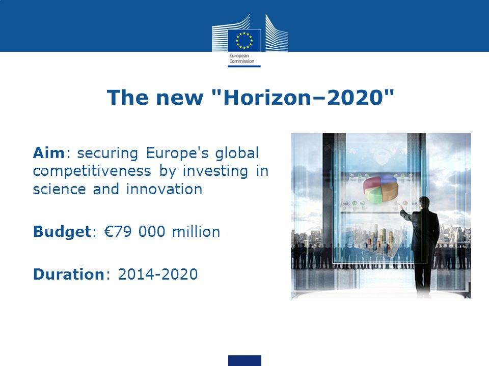The new Horizon–2020 Aim: securing Europe s global competitiveness by investing in science and innovation.