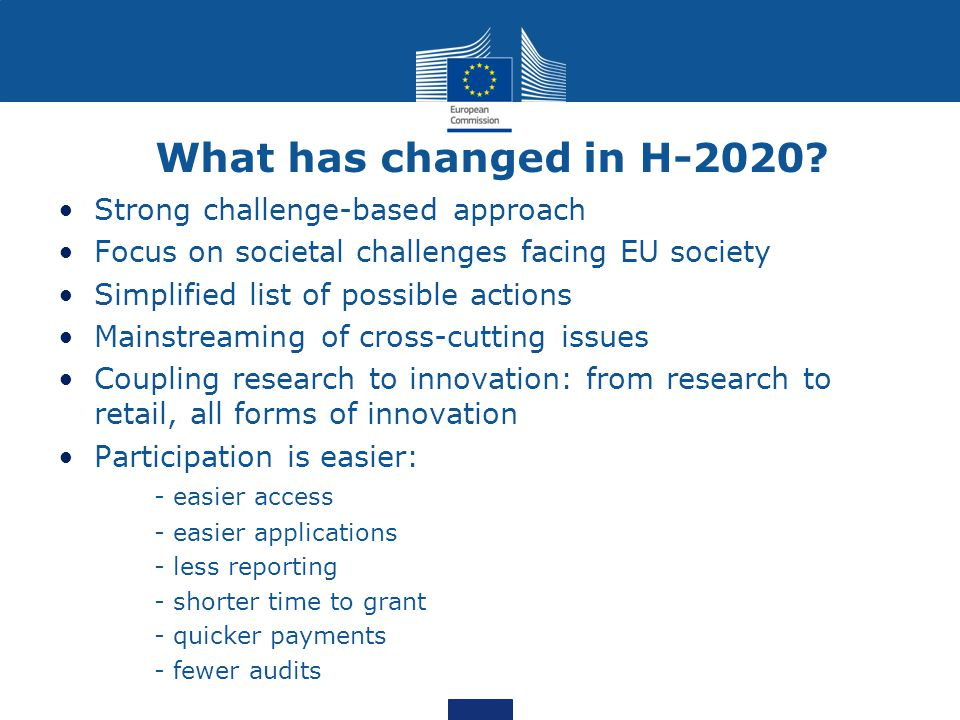 What has changed in H-2020 Strong challenge-based approach