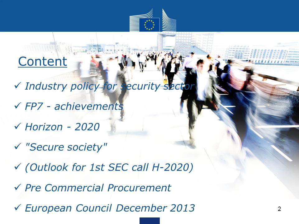Content Industry policy for security sector FP7 - achievements